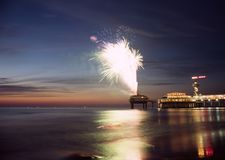Fireworks. At the beach royalty free stock photos