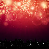 Fireworks. Illustration of colorful Fireworks about a city Royalty Free Stock Image