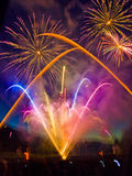 Fireworks. Display with multiple bursts Royalty Free Stock Images