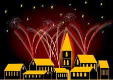 Fireworks. In the night on town Stock Photography