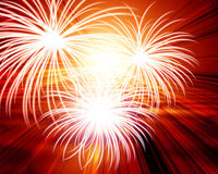 Fireworks. With a red background Stock Image