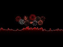 Fireworks. Colorful fireworks isolated against a black sky above a glowing city Stock Photos