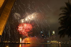 Fireworks. At Marina Bay, Singapore. In the background is the Central Business District Stock Photography