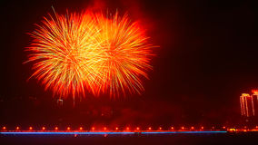 Fireworks. Polychrome fireworks in Chinese new year Stock Photo