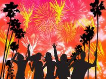 Fireworks. Dancing people on fireworks background Stock Photography