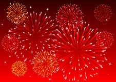 Fireworks. Abstract vector illustration of fireworks in the sky Stock Images