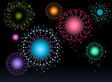 Fireworks. Colorful fireworks at dark night Royalty Free Stock Photo
