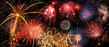 Fireworks. Of different colors over a night sky - Extra large size Stock Images