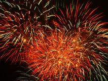 Fireworks. In red, green en yellow Royalty Free Stock Image