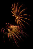 Beautiful fireworks display lights up the nighttime sky Stock Image