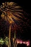 Beautiful fireworks display lights up the nighttime sky Stock Photos