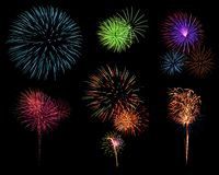 Fireworks. Set of many colorful fireworks Stock Images