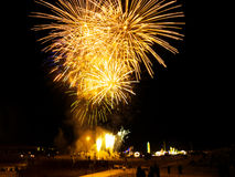 Fireworks. People enjoying the show. Vibrant colors on black. Fireworks series Royalty Free Stock Images