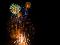 Fireworks. Vibrant colors on black. Fireworks series Royalty Free Stock Photos