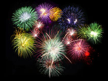 Fireworks. Holidays celebration fireworks displaying against black sky Royalty Free Stock Images