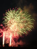Fireworks 7. Red and green, electric explosion royalty free stock images