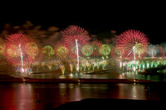 Fireworks. A line of fireworks light up simultaneously during the grand opening of Atlantis in Palm Jumeirah  Dubai UAE Royalty Free Stock Photography