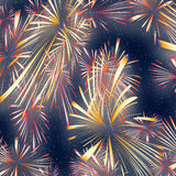 Fireworks. Stylized illustration of fireworks on starry sky Royalty Free Stock Photo