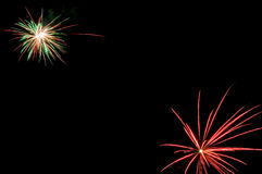Fireworks. Beautiful fireworks against the dark night sky stock images