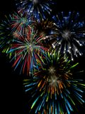 Fireworks. 3D illustration, wallpaper, background. Independence day, colorful fireworks Royalty Free Stock Image