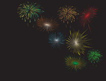 Fireworks. Raster illustration of colorful fireworks against black background Vector Illustration