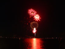 Fireworks 8. A photograph of a fireworks display near a lake Stock Photography