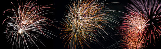 Fireworks. Panorama of different fireworks Stock Photos