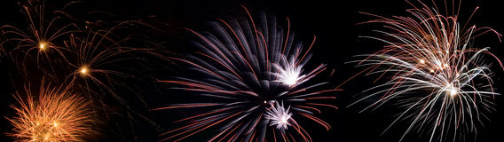 Fireworks. Panorama of different fireworks Royalty Free Stock Photo