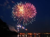 Fireworks. The victory day salute on May, 9, 2006 in Yekaterinburg, Russia royalty free stock photo