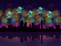 Fireworks above big city silhouette Stock Photography