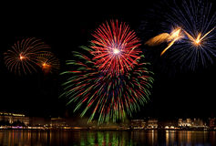 Fireworks above Binnenalster lake at Hamburg Royalty Free Stock Images
