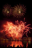 Fireworks above Binnenalster lake at Hamburg Stock Photography