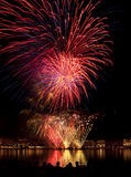 Fireworks above Binnenalster lake at Hamburg Stock Photo