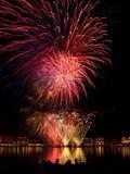 Fireworks above Binnenalster lake at Hamburg Stock Photo