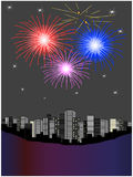 Fireworks above city Stock Photo