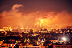 Fireworks above the city. Royalty Free Stock Photos