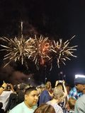 Fireworks Above a Crowd stock photography