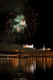 Fireworks above Danube river in Bratislava Stock Photography