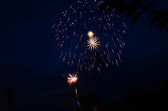 Fireworks. Above the lake shore Stock Photos