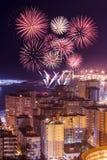 Fireworks above Malaga city Royalty Free Stock Photos