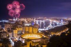 Fireworks above Malaga city Stock Image