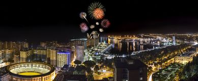 Fireworks above Malaga city at night Stock Photography