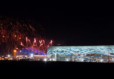Fireworks above olympic park Stock Photo