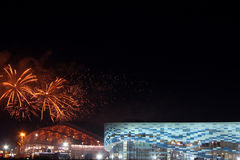 Fireworks above olympic park Stock Photos