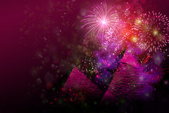 Fireworks above pyramids in Egypt Stock Image