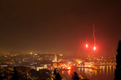 Fireworks above the Split Royalty Free Stock Photos