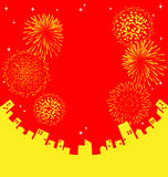 Fireworks abstract Chinese New Year. Vector Royalty Free Stock Photo