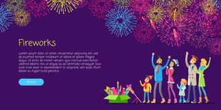 Fireworks. Adults and Children Watching Salutes Stock Images