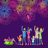 Fireworks. Adults and Children Watching Salutes Royalty Free Stock Photos