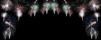 Fireworks against black background with copy space. Real colourful Fireworks against black background with copy space vector illustration